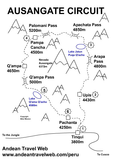 Ausangate map, backpacking destinations