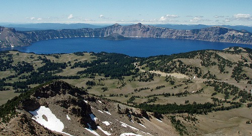 crater lake from top of mt. scott, oregon backpacking