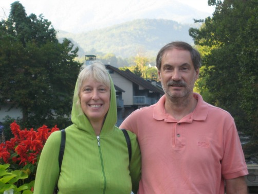 Dolores and Joe in Gatlinburg, TN, backpack travel