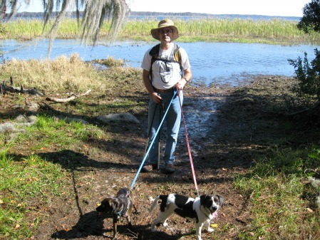 Joe, Bindi and Oreo, backpacking with dog
