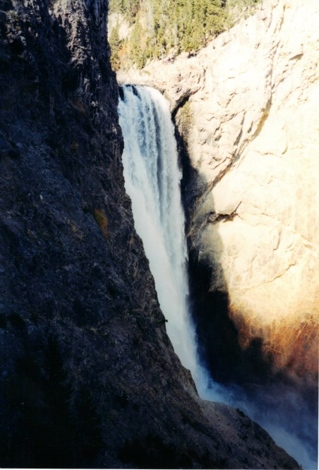 Lower Falls in canyon, lightweight backpacking