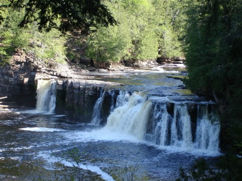 Manabezho Falls On The Presque Isle River, backpacking in michigan