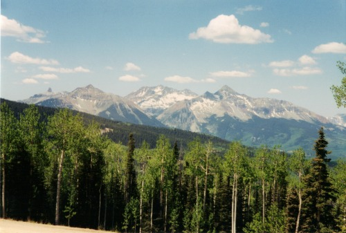 Mountains from Telluride, travel backpack