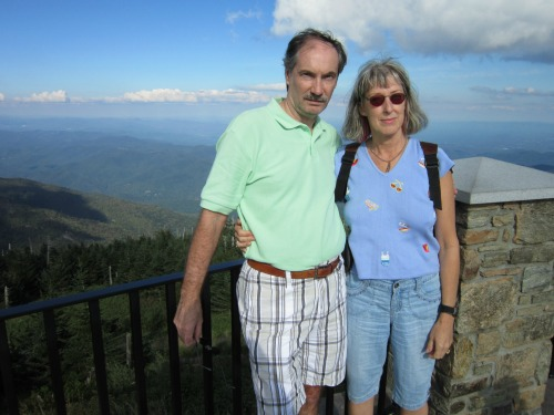 Dolores and Joe on Observation Tower, mount mitchell state park