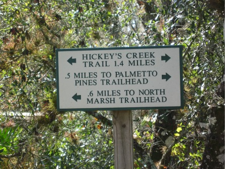 The 3 Hiking Trails Sign, hickeys creek