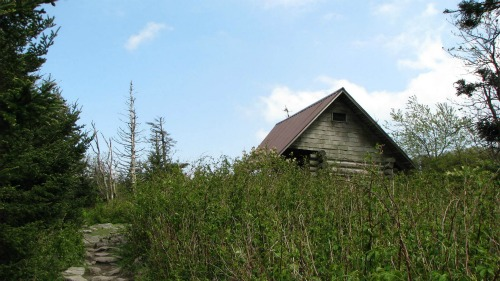Thomas Knob Shelter, women backpacking